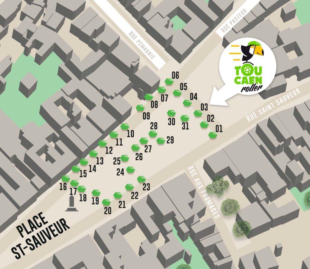 Plan Ville de Caen - TouCaen Roller